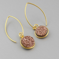 Rose Gold Druzy Quartz Earrings - Gold Vermeil Marquis Ear Wires