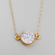 Shimmering Silver Druzy Quartz Necklace - Gold Vermeil