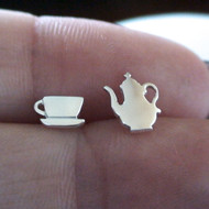 Sterling Silver Tea Party Earrings - Teapot and Teacup