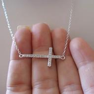 Sideways CZ Cross Necklace - Sterling Silver