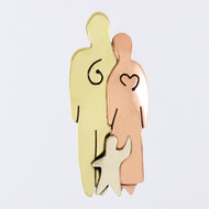 Mima & Oly Loving Family of Three Lapel Pin