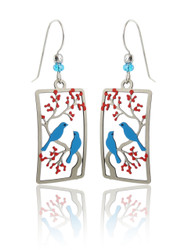 Blue Birds in Cherry Tree Earrings - Sterling Silver Ear Wires