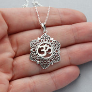 Flower Om (Ohm) Necklace - 925 Sterling Silver
