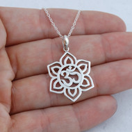 Flower Om (Ohm) Necklace - Sterling Silver
