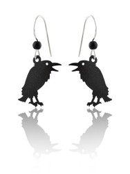 Talking Raven Bird Earrings - 925 Sterling Silver Ear Wires