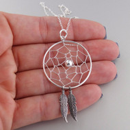 Dream Catcher Pendant Necklace - 925 Sterling Silver