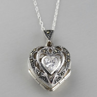 Marcasite Heart Locket Necklace - Sterling Silver, CZ
