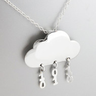 Binary Rain Cloud Necklace - 925 Sterling Silver
