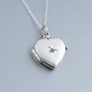Heart Locket Necklace with 1pt Diamond - Sterling Silver