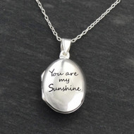 Engraved 'You are My Sunshine' Locket Necklace - Sterling Silver