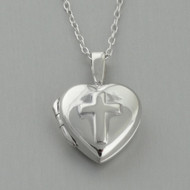 Tiny Cross Heart Locket Necklace - Sterling Silver