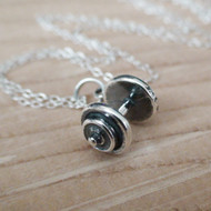 Sterling Silver Dumbbell Charm Necklace