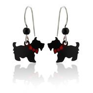 Scottie Dog Earrings - 925 Sterling Silver Ear Wires