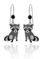 Raccoon Earrings - 925 Sterling Silver Ear Wires
