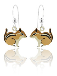 Brown Squirrel Earrings - 925 Sterling Silver Ear Wires