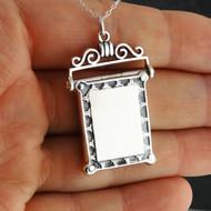 Rectangle Scroll Design Locket - 925 Sterling Silver