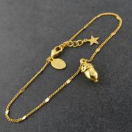Acorn Bracelet - 24k Gold Plated Brass on Inspirational Card