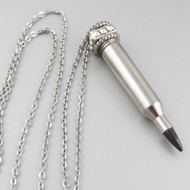 ".17 Remington Nickel Bullet Necklace - Square Top - 28"" Silver Chain"