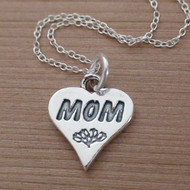 Mom Heart Charm Necklace - 925 Sterling Silver
