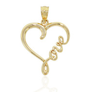 """Love"" Heart Pendant - Solid 14k Yellow Gold -Word Love Charm Script Gift"
