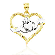 Claddagh Heart Pendant - Solid 10k Yellow Gold