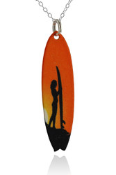 Surfboard Necklace - Surfer Sunset - Painted Brass -Two Sided
