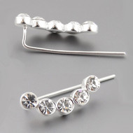 Circle Ear Climber Earrings - 925 Sterling Silver