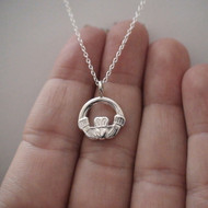 Claddagh Charm Necklace - 925 Sterling Silver