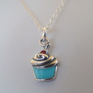 Tiny Cupcake Charm Necklace - 925 Sterling Silver
