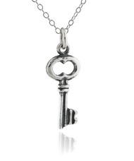 Tiny Skeleton Key Necklace - 925 Sterling Silver