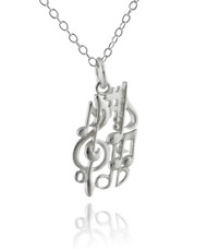 Music Notes Necklace - 925 Sterling Silver