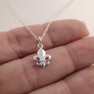 Tiny Fleur De Lis Necklace - 925 Sterling Silver