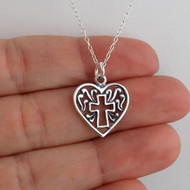 Cross in Heart Charm Necklace - Sterling Silver