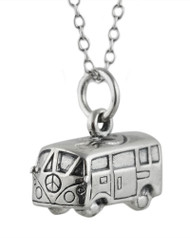 3D VW Bus Necklace - Sterling Silver