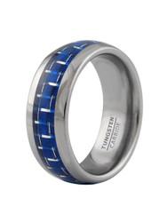 9mm Men's Tungsten Carbide Wedding Band Ring - Blue Carbon Fiber