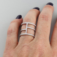 Abstract Lines Triple Band Ring - 925 Sterling Silver - CZ