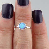 Azure Opal Midi Ring - 925 Sterling Silver