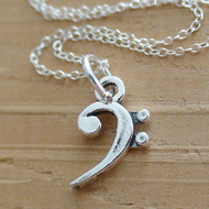 Sterling silver bass clef charm necklace