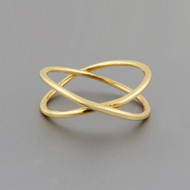 Gold Crisscross Midi Knuckle Ring - 925 Sterling Silver