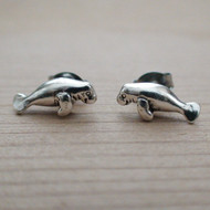 Manatee Post Earrings in Sterling Silver