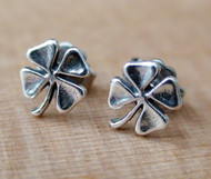 Four Leaf Clover Stud Earrings in Sterling Silver