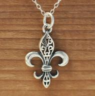 Fancy FLEUR DE LIS - Sterling Silver Charm Necklace