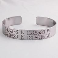 Personalized Coordinates Cuff Bracelet, Customized Engraved Longitude Latitude