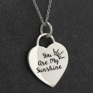 "Engraved ""You Are My Sunshine, My Only Sunshine"" Necklace - Sterling Silver"