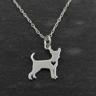 Chihuahua Necklace - 925 Sterling Silver - Cutout Heart