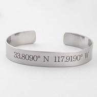 Disneyland Coordinates Engraved Cuff Bracelet