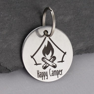 Engraved Happy Camper Key Chain - Stainless Steel