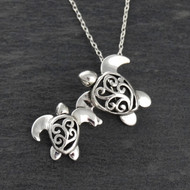 3D Sea Turtles Necklace - 925 Sterling Silver