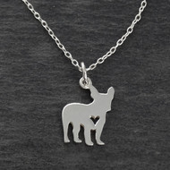 French Bulldog Necklace - 925 Sterling Silver - Cutout Heart