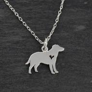 Labrador Retriever Necklace - 925 Sterling Silver - Cutout Heart
